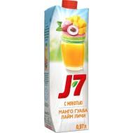 Напиток J7 лайм-личи, манго-гуава 1л