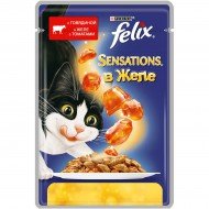Корм Felix Sensations для кошек говядина в желе с томатами 85гр