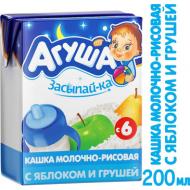 """Каша """"Агуша"""" Засыпайка 2,7% молочно-рисовая с яблоком и грушей 200г"""