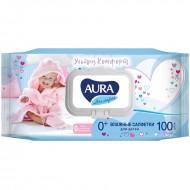 """Влажные салфетки AURA Ultra Comfort """"Aura"""" для детей 100шт."""
