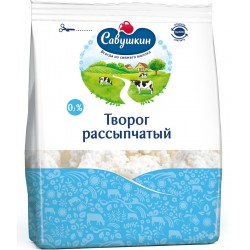 """Творог """"Савушкин"""" рассыпчатый 0% 350 гр"""