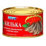 Килька Барс балтийская неразделанная в томатном соусе