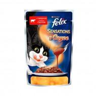Корм Felix Sensations для кошек говядина в соусе с томатами 85гр