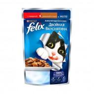 Корм Felix для кошек Двойная вкуснятина с говядиной и птицей в желе 85гр