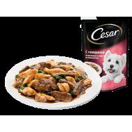 Корм для собак Cesar из говядины и кролика в соусе со шпинатом
