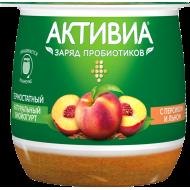 Биойогурт Активиа термостатный персик и лен 3% 170 г бзмж